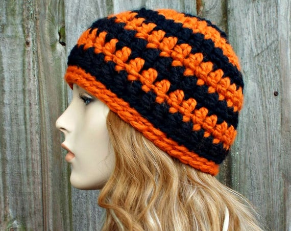 Black and Orange Beanie - Crochet Womens Hat Mens Hat - Warm Winter Hat Black Beanie Orange Beanie Halloween Hat