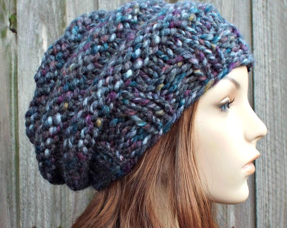 Rainbow and Grey Womens Hat - Original Beehive Beret Hat in Abalone - Grey Hat Grey Beret Grey Beanie Warm Winter Hat - READY TO SHIP