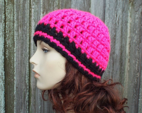 Neon Pink and Black Beanie - Pink Crochet Hat Pink Womens Hat Pink Mens Hat - Warm Winter Hat - Pink Hat - READY TO SHIP
