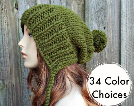 Olive Green Chunky Knit Hat Womens Hat - Green Hat Green Beanie Green Slouchy Beanie - Charlotte - Womens Pom Pom Hat