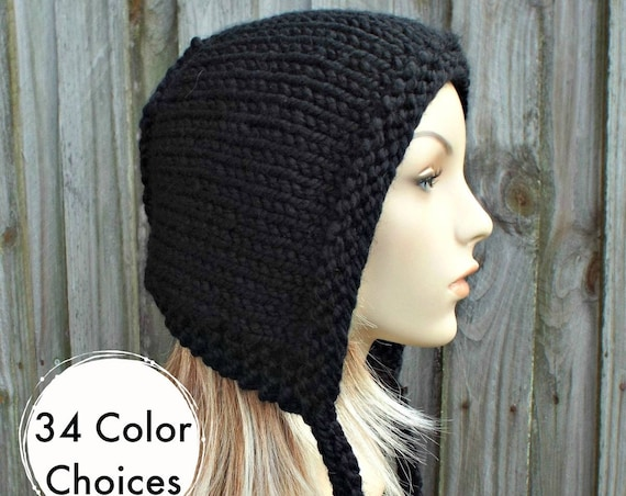 Black Knit Hat - Aviator Adult Bonnet - Hood with Ties - Womens Winter Hat