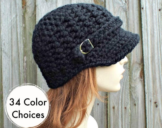 Womens Chunky Crochet Black Newsboy Hat - Jockey Cap Visor Beanie with Buckle - Crochet Accessories