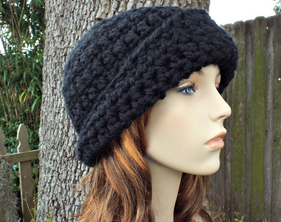 Crochet Hat Womens Hat 1920s Flapper Hat - Garbo Cloche Hat in Black Crochet Hat - Black Hat Black Cloche Womens Accessories Winter Hat