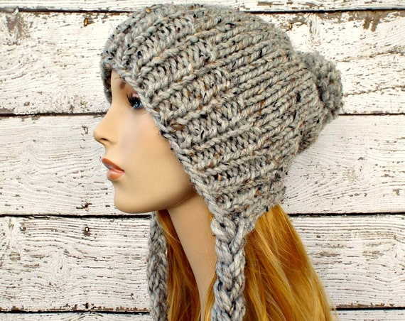 Instant Download Knitting Pattern - Slouchy Ear Flap Hat Pattern - Knit Hat Pattern Charlotte Split Brim Slouchy Beanie Pattern - Womens