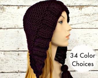 Knit Hat Womens Hat Knit Hood Ear Flap Hat - Tassel Hat in Eggplant Purple Knit Hat - Womens Accessories Winter Hat - 34 Color Choices