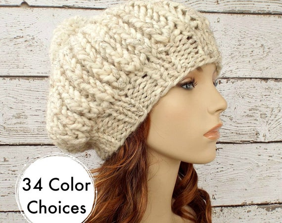 Womens Hat Oversized Beret With Pom Pom Knit Pom Beanie - Ludmilla Ribbed Beret Hat in Wheat Knit Hat Womens Accessories