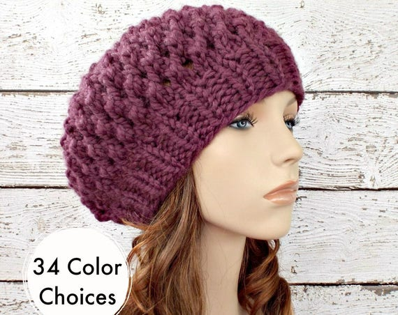 Purple Knit Hat Purple Womens Hat Purple Slouchy Beanie - Odessa Beret Fig Purple Hat - Purple Beret Purple Beanie