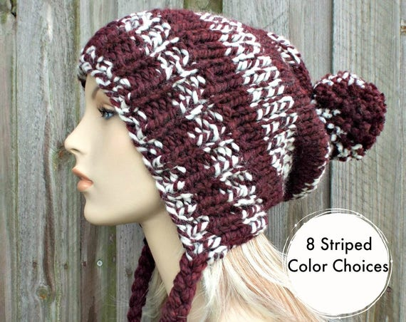 Burgundy and White Slouchy Pom Pom Hat - Charlotte - Slouchy Beanie Winter Hat Womens Hat - Womens Pom Pom Hat - 8 Striped Color Choices