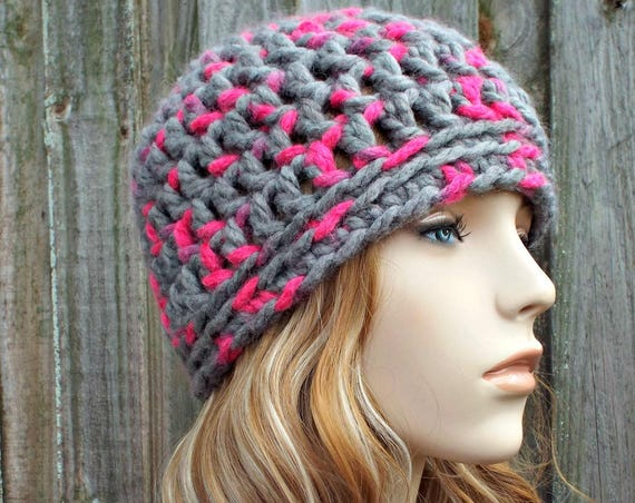 Grey and Hot Pink Beanie - Pink Crochet Hat Pink Womens Hat Pink Mens Hat Winter Hat - Pink Hat Grey Hat Grey Beanie
