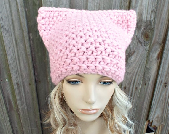 Pink Cat Hat - Thermal Crochet Womens Winter Beanie in Blossom - Pink Pussyhat Project Pink Pussy Hat - READY TO SHIP