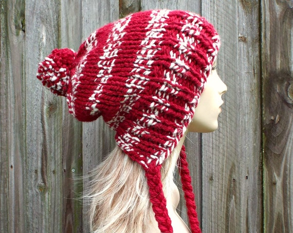 Cranberry Red and Cream Slouchy Pom Pom Hat - Red Hat Red Beanie Slouchy Hat Slouchy Beanie  Winter Hat Womens Hat Charlotte