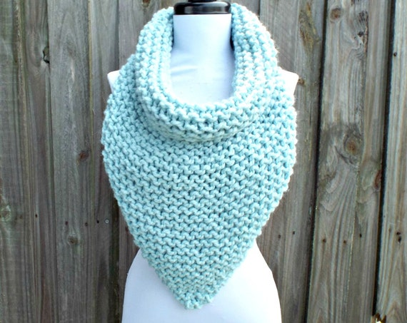 Womens Oversized Bandana Knit Cowl Glacier Pale Blue Scarf - Blue Cowl Chunky Scarf Womens Accessories Winter Scarf - READY TO SHIP