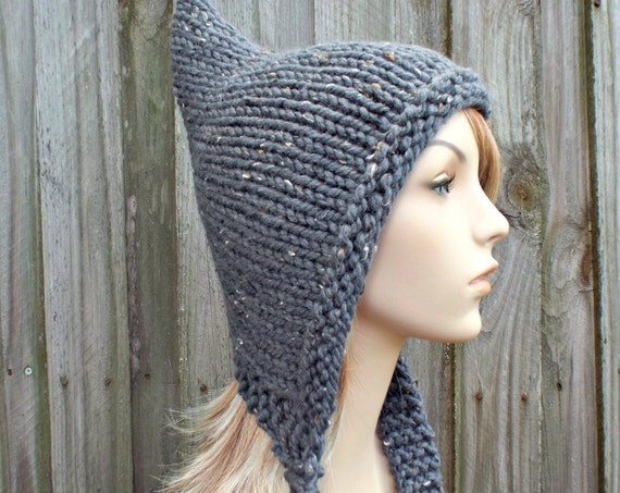 Graphite Grey Pixie Hat Grey Womens Hat - Tweed Grey Knit Hat - Grey Hat Grey Winter Hat
