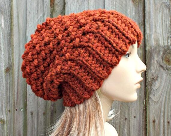 Burnt Orange Crochet Hat Women Slouchy Beanie Slouchy Hat - Souffle Beret Orange Hat Orange Beanie Orange Beret Womens