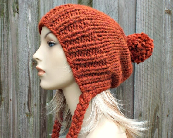 Rust Orange Slouchy Hat Womens Hat Rust Hat Rust Beanie Slouchy Beanie - Charlotte Slouchy Ear Flap Hat - Orange Beanie