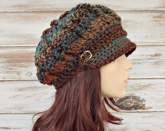 Womens Crochet Hat Women Newsboy Hat - Spring Monarch Ribbed Hat - Rust Teal Brown Newsboy Hat - Chocolate Peacock - 10 Color Choices