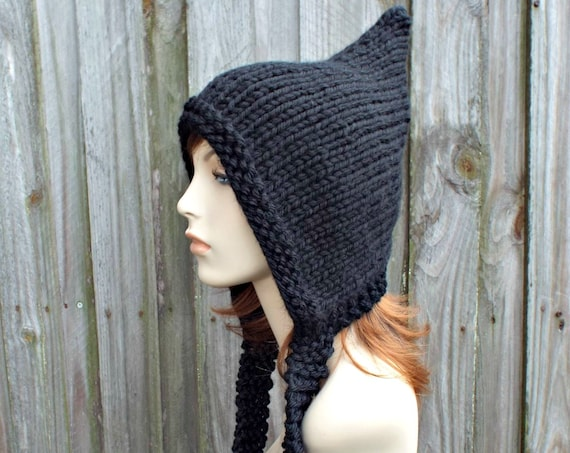 Black Pixie Hat - Womens Knitted Winter Hat - 100% Acrylic