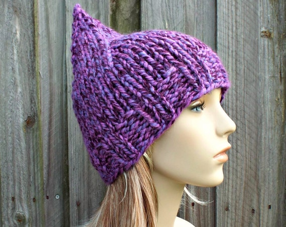 Purple Womens Hat - Purple Gnome Hat - Grape Mixed Purple Knit Hat - Purple Hat Purple Beanie Womens Accessories Winter Hat