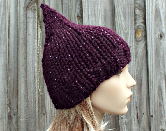 Purple Womens Hat - Purple Gnome Hat Galaxy Metallic Eggplant Purple Knit Hat - Purple Hat Purple Beanie Womens Accessories Winter Hat