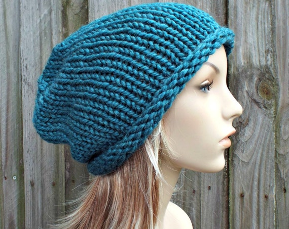 Knit Hat Womens Hat - Rolled Brim Beanie Teal Blue Knit Hat - Teal Hat Teal Beanie Blue Hat Blue Beanie Womens Accessories Winter Hat
