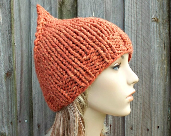 Orange Knit Hat Womens Hat Orange Beanie Orange Hat - Tangerine Light Mixed Orange Gnome Hat  - READY TO SHIP