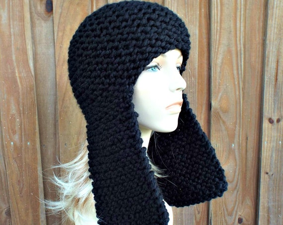 Black Knit Hat Black Womens Hat - Black Ear Flap Hat - Black Hat Black Beanie Black Mens Hat Womens Accessories Winter Hat