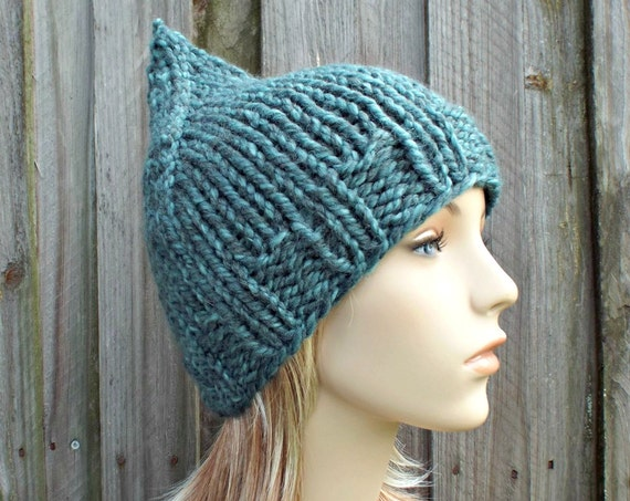 Turquoise Blue Gnome Hat Chunky Knit Hat Womens Hat - Blue Hat Blue Beanie Blue Gnome Beanie Winter Hat