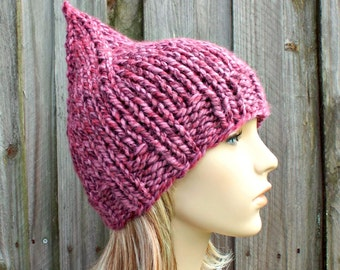 0af1fcf0f8d Pink Womens Hat - Pink Gnome Hat Strawberry Mixed Pink Knit Hat - Pink Hat  Pink Beanie Womens Accessories Winter Hat