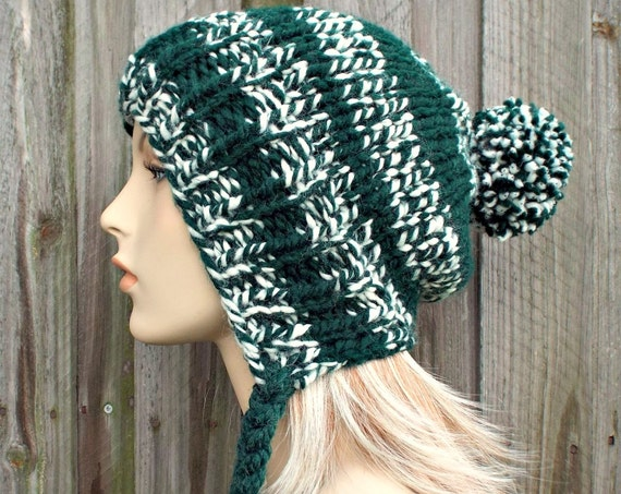 Pine Green Slouchy Pom Pom Hat - Green and Cream Hat - Green Hat Green Beanie Slouchy Hat Slouchy Beanie Winter Hat