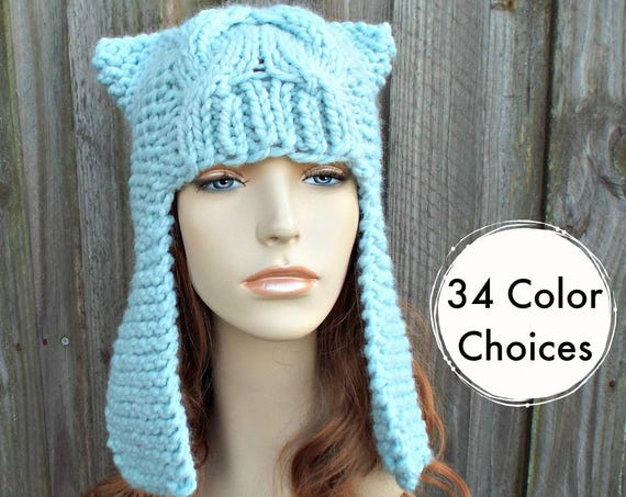Womens Ear Hat Chunky Knit Cable Beanie Glacier Blue Ear Flap Hat  - Dragon Slayer - Womens Knit Accessories Winter Hat
