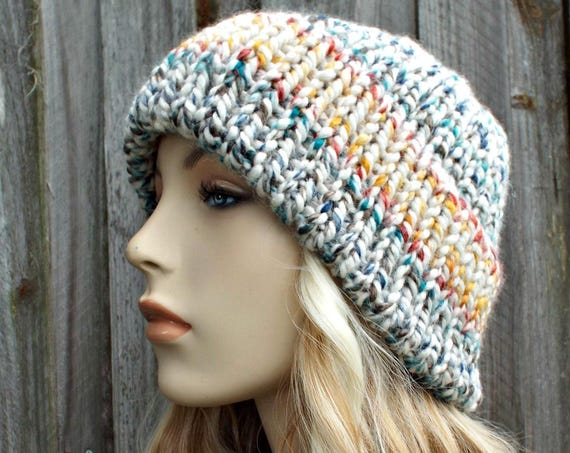 Hudson Bay - Cream and Rainbow Mens Or Womens Double Thick Brim Knit Hat - Warm Thick Winter Beanie - Delphine - READY TO SHIP