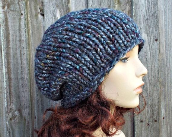 Grey Rainbow Chunky Knit Hat Womens Warm Winter Hat Knit Accessories - Rowena Slouchy Beanie - Grey Hat Grey Beanie - READY TO SHIP