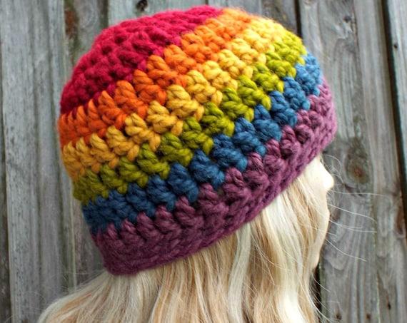 Gay Pride Hat Rainbow Hat - Crochet Rainbow Womens Hat Rainbow Mens Hat - Warm Winter Hat Gay Pride Beanie