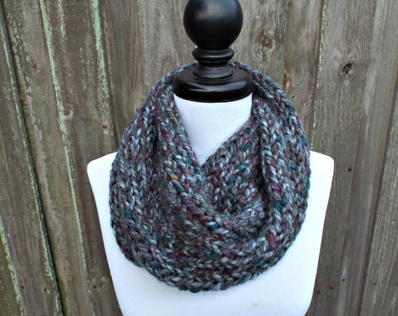 Womens Super Chunky Circle Scarf - Abalone - Dark Rainbow and Grey Knit Scarf Thick Cowl Scarf Knit Accessories Grey Cowl Grey Scarf