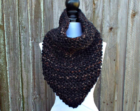 Womens Oversized Bandana Knit Cowl Scarf - Toasted Almond Brown and Black Scarf Black Cowl Womens Accessories Fall Fashion Winter Scarf