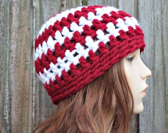 Candy Cane Hat Candy Cane Beanie Red and White Hat - Crochet Womens Hat Mens Hat - Red and White Beanie Warm Winter Hat