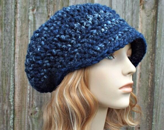 River Run Blue Crochet Womens Newsboy Hat Slouchy Newsboy Hat Blue Hat Blue Beanie Blue Crochet Hat Blue Newsboy Hat