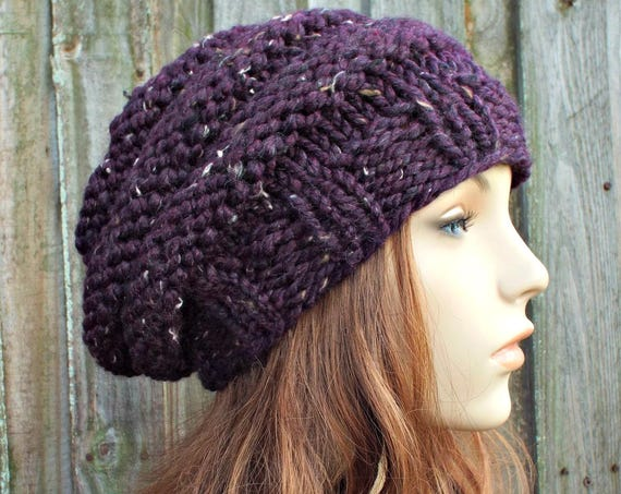Raisin Tweed Purple Knit Hat Purple Womens Hat Beehive Beret - Purple Hat Purple Beret Purple Beanie Winter Hat - READY TO SHIP