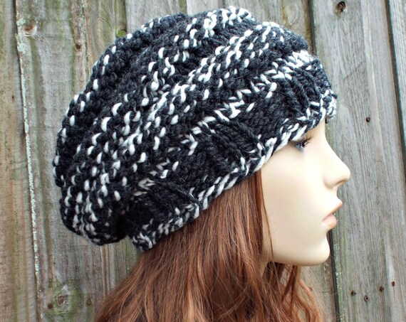Charcoal Grey and Cream Knit Hat Black Womens Hat - Original Beehive Beret Grey Hat Grey Beret Grey Beanie Winter Hat - READY TO SHIP