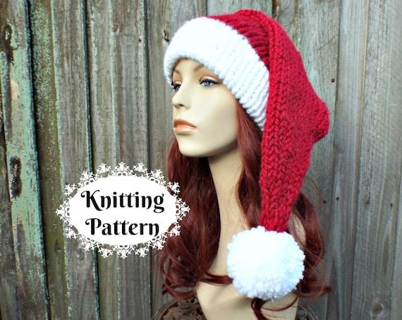 Santa Hat Knitting Pattern - Instant Download Knit Hat Pattern - Christmas Hat Pattern - Adult Size Double Brim Santa Hat Pattern Winter Hat