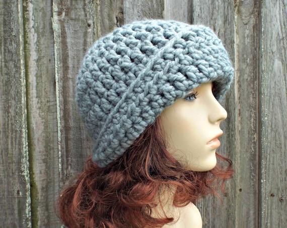 Chunky 1920's Flapper Style Asymmetric Cloche Hat - Garbo - Slate Grey Crochet Hat - Grey Hat Grey Beanie Grey Winter Hat - READY TO SHIP