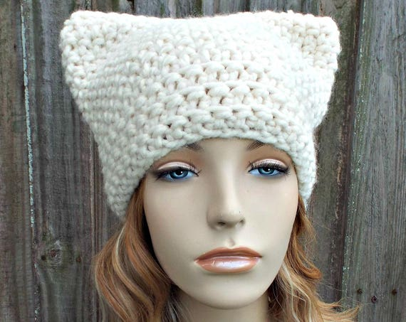 Cream Cat Hat - Thermal Crochet Womens Winter Beanie Cream Hat Cream Beanie - Cream Pussyhat Cream Pussy Hat - READY TO SHIP