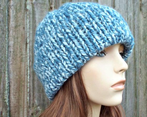Peppermint Blue Double Thick Brim Knit Hat Womens Hat Mens Hat - Warm Hat Thick Winter Beanie - Blue Hat Blue Beanie