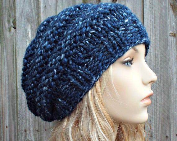 River Run Mixed Blue Knit Hat Blue Womens Hat - Original Beehive Beret - Blue Hat Blue Beret Blue Beanie Blue Winter Hat