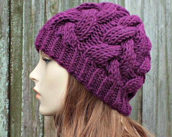 Plum Purple Knit Cable Beanie Purple Womens Beanie - Cable Hat Warm Winter Hat - Branch Cable Beanie Knit Accessories - READY TO SHIP