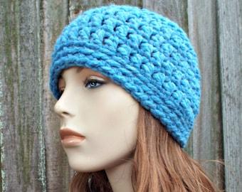 Sky Blue Beanie Blue Hat - Crochet Womens Hat Blue Mens Hat - Blue Womens Hat Warm Winter Hat - READY TO SHIP
