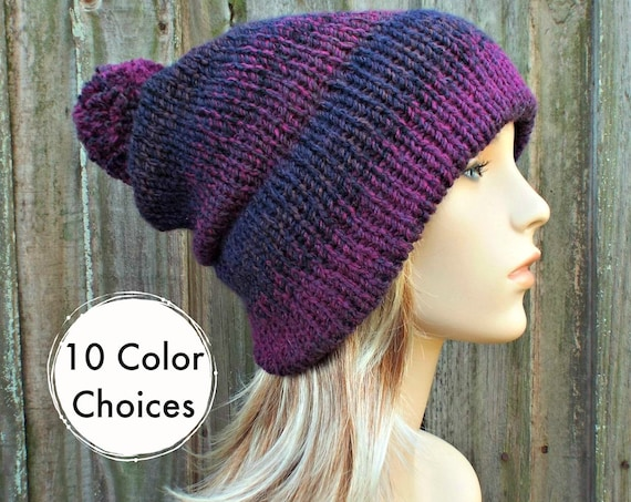 Hand Knit Hat Womens Pom Pom Hat Purple Double Brim Beanie 100% Acrylic - 10 Color Choices