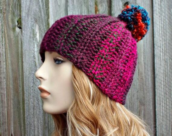 Womens Pom Pom Hat - Crochet Hat Womens Hat Purple Hat Purple Beanie - Passionfruit Beanie Winter Hat Womens Accessories - READY TO SHIP