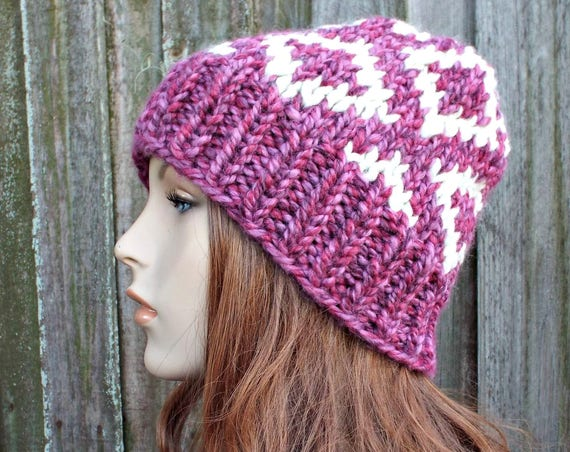 Pink and Cream Diamond Fair Isle Hat - Pink Knit Hat Womens Hat Pink Beanie Pink Hat - Pink Winter Hat - READY TO SHIP