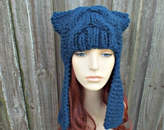 Womens Ear Hat Chunky Knit Cable Beanie Petrol Blue Ear Flap Hat  - Dragon Slayer - Womens Knit Accessories Winter Hat